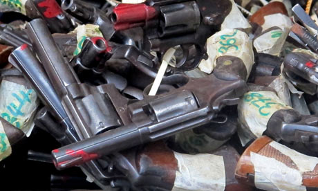 Handguns seized by police in Kingston, Jamaica